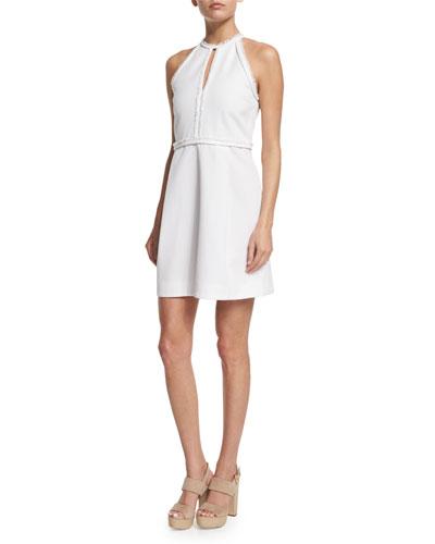 Sleeveless Frayed-Trim Dress, White