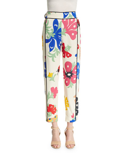 Printed Pajama-Style Pants, Folk Forest