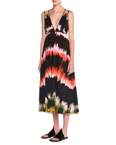 Sleeveless Paint-Striped Sundress, Multi Colors