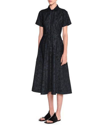 Meadow-Print Denim Shirtdress, Dark Navy/Black