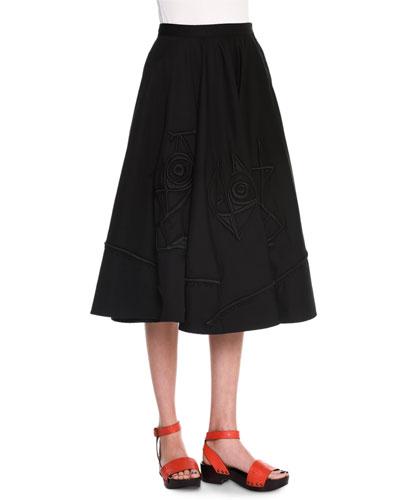 Embroidered Full Skirt, Black