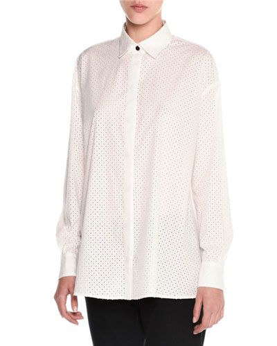 Perforated Balloon-Back Blouse, White