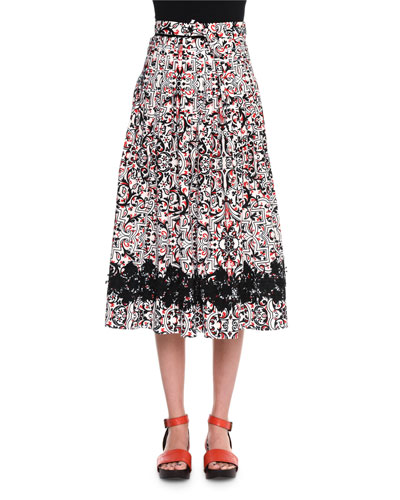 High-Waist Printed Full Skirt, Chalk/Black/Fire
