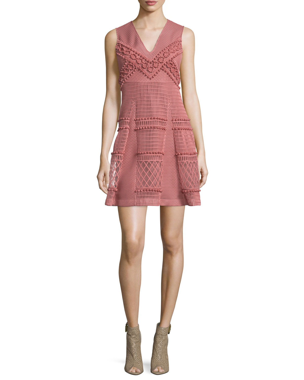 Sleeveless Patchwork Lace Dress