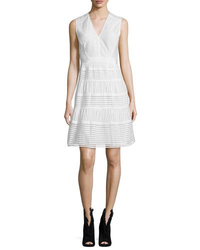 Sleeveless Striped-Panel Dress, White