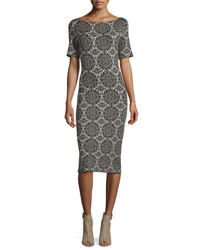Short-Sleeve Medallion-Lace Printed Sheath Dress, Black