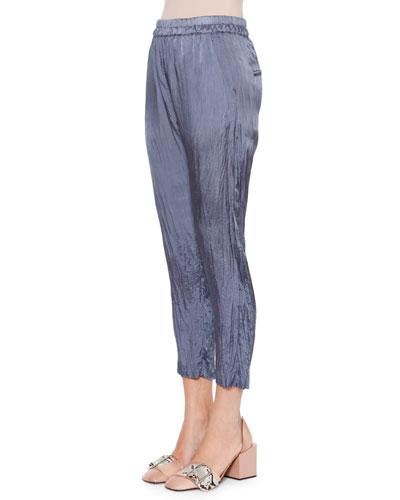 Anniball Slim-Leg Crushed Ankle Pants, Slate Blue