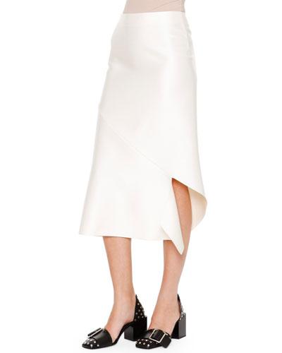 Albicocca Bias-Cut Swirl-Around Skirt, Off White