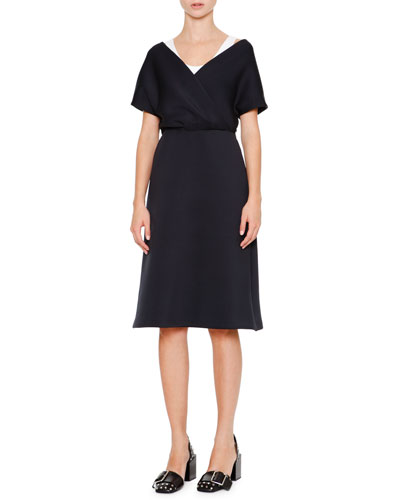 Cap-Sleeve Faux-Wrap Dress, Navy/White