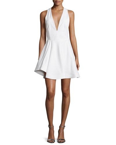 Sleeveless Flirty Open-Back Dress, White
