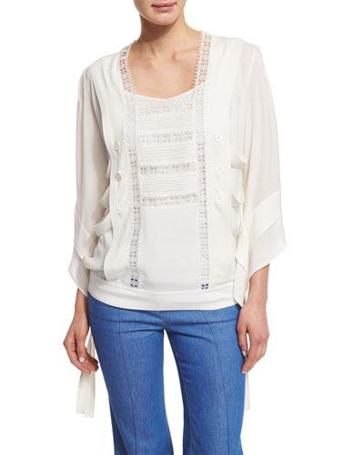 Lace-Trim Kimono-Style Tunic, White