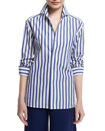 French Capri Striped Dress Shirt, White/Classic Blue