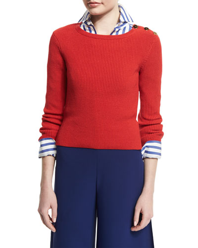 Button-Shoulder Long-Sleeve Sweater, Bright Red