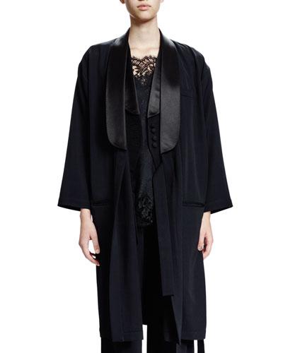 3/4-Sleeve Open-Front Coat, Black