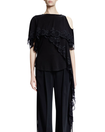 Cold-Shoulder Scoop-Back Lace Top, Black