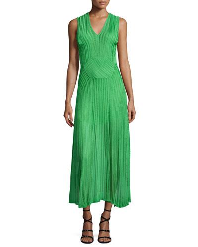 Sleeveless V-Neck Midi Dress, Lime Green