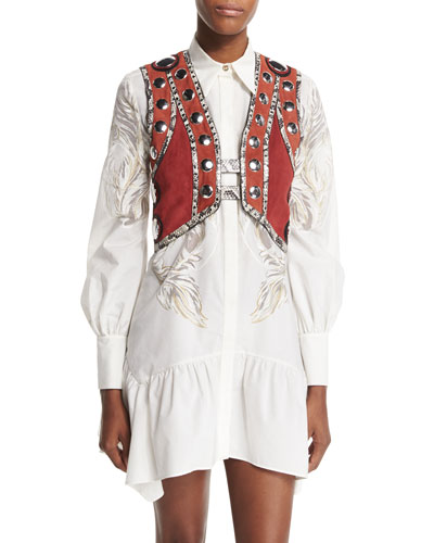 Embellished Snake-Trim Cropped Vest, Ruby/Terracotta