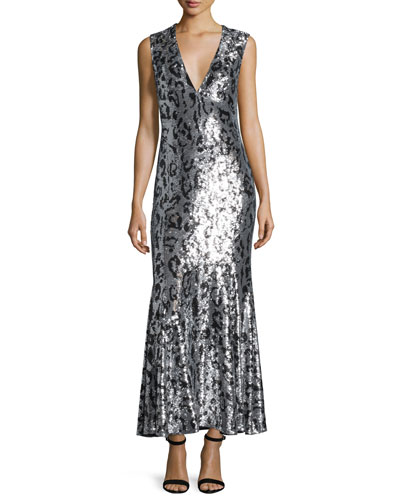 Sleeveless Jaguar-Embellished Gown, Black/Silver