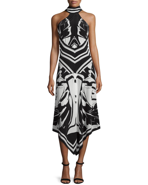 Halter-Neck Printed Cocktail Dress, Black/White