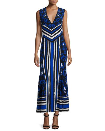 Sleeveless Mixed-Print Maxi Dress, Black/Blue/Navy