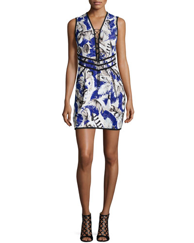 Sleeveless Lace-Up Feather-Print Dress, Blue/Rosa