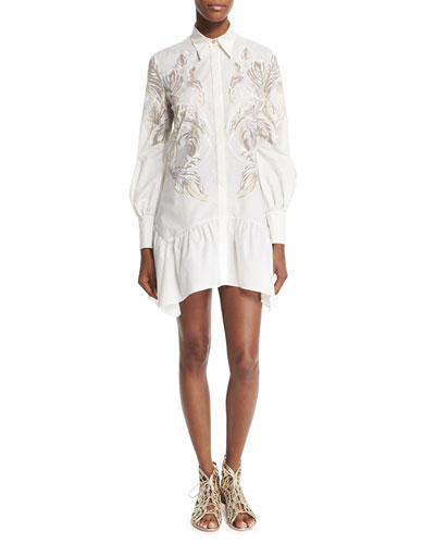 Long-Sleeve Feather-Print Shirtdress, White/Gold