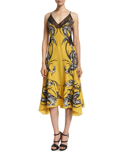 Sleeveless Feather-Print Dress W/Lace, Yellow