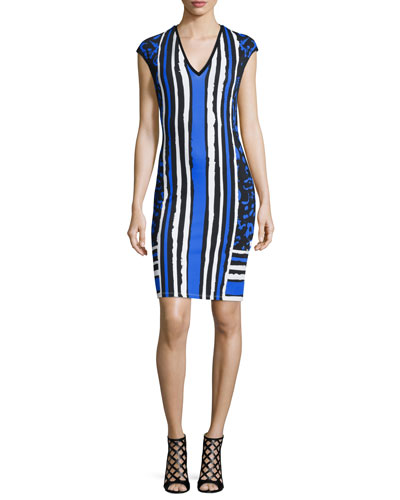 Cap-Sleeve Mixed-Print Sheath Dress, Black/Blue/Navy