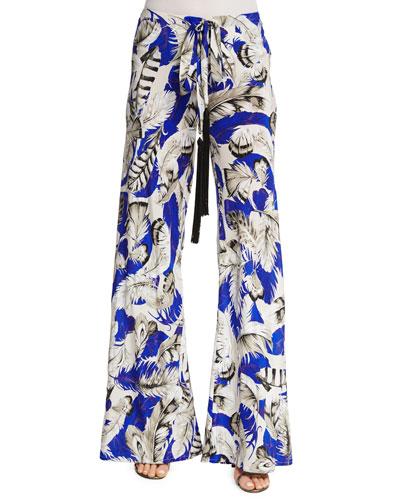 Feather-Print Drawstring Pajama Pants, Blue/Pink