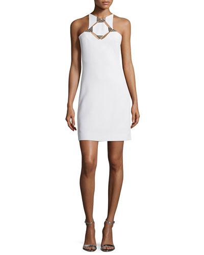 Sleeveless Geometric-Cutout Sheath Dress, White