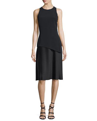 Sleeveless Plisse-Skirt Sheath Dress, Black