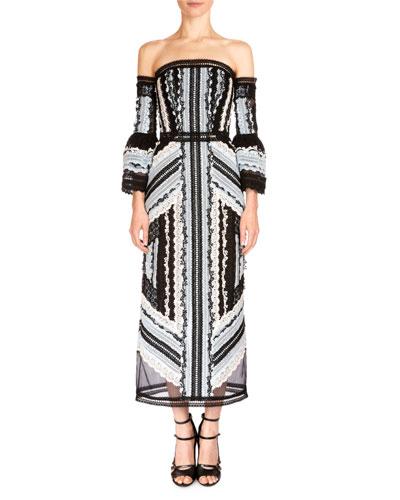 Sissy Exposed-Shoulder Midi Dress, Black/Blue