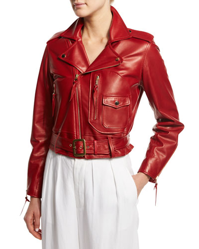 Zip-Front Leather Moto Jacket, Red