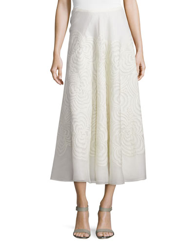 Roxanne Embroidered Midi Skirt, Cream