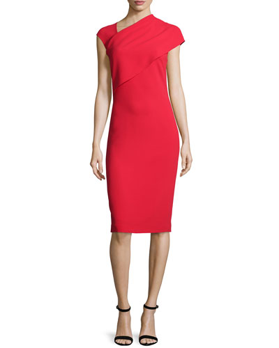 Sonya Cap-Sleeve Sheath Dress, Bright Red