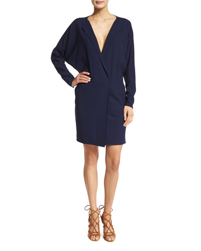 Long-Sleeve V-Neck Dress, Dark Navy