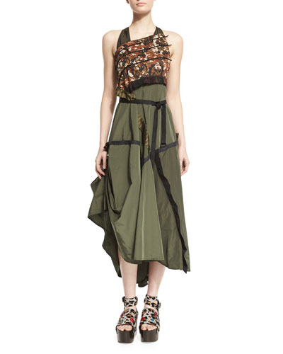Sleeveless Mixed-Print A-Line Dress, Military Green/Rust