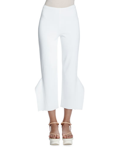 Strong Shapes Ruffled Cropped Pants, Pure White