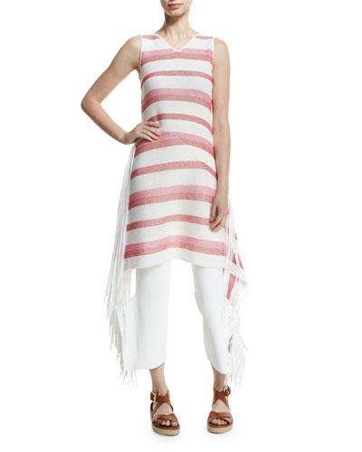 Sleeveless Striped Tunic Dress W/Fringe