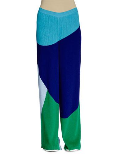 Colorblock Wide-Leg Ribbed Pants, Multi Colors