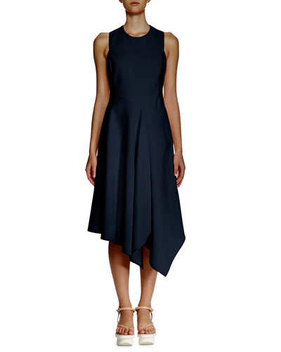 Sleeveless Asymmetric-Hem Dress, Navy