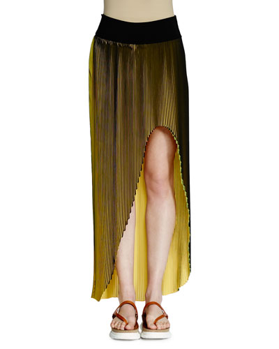 Jeanne High-Low Plisse Maxi Skirt, Black/Lemon