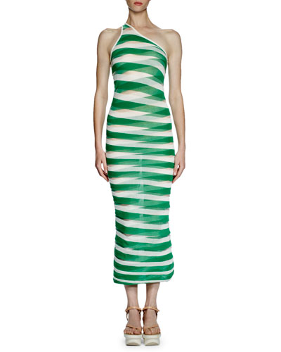 One-Shoulder Transparent-Striped Long Dress, Lily/Green
