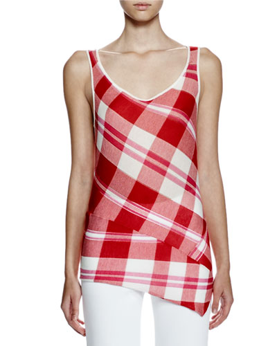Sleeveless Solid-Check Top, Lily/Chili Red/Pink