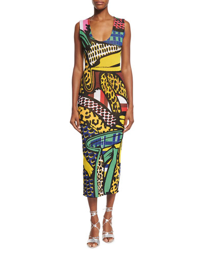 Sleeveless Scoop-Neck Intarsia Midi Dress, Multi Colors