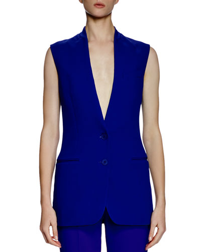 Collarless Two-Button Vest, Blue Bird
