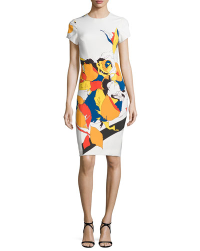 Abstract Floral-Print Sheath Dress, Multi Floral Lace