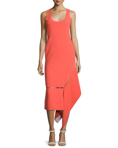 Sleeveless Asymmetric-Hem Midi Dress, Vermillion