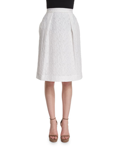 Pleated-Front Flippy Skirt, Porcelain