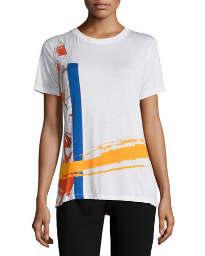Abstract-Floral Print T-Shirt, White/Multi